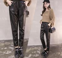 women PU ankle length pants 2018 spring new casual loose Elastic Waist high pants Skinny Faux Leather Trousers Female gx211