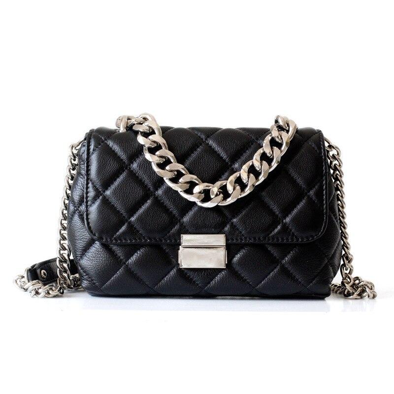 Diamond Lattice Small Shoulder Bag for Women Genuine Leather Flap Bag  Sheepskin Classical Ladies Crossbody Bag Chain Design 68d943010fd33