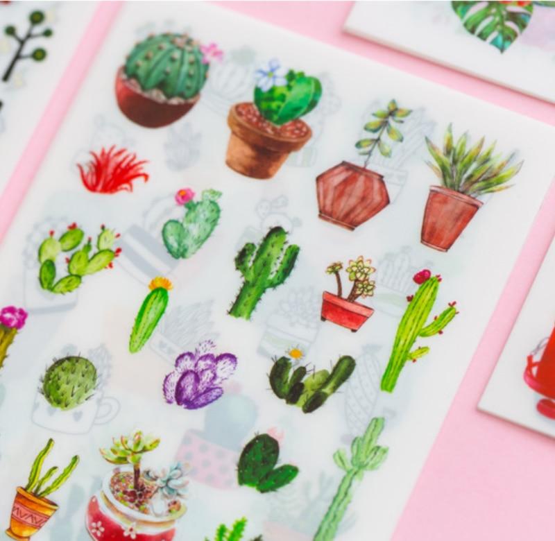 Купить с кэшбэком 6 Pages/Pack Flower Plant Decorative Planner Stickers DIY Diary Scrapbooking Phone Seal Stickers