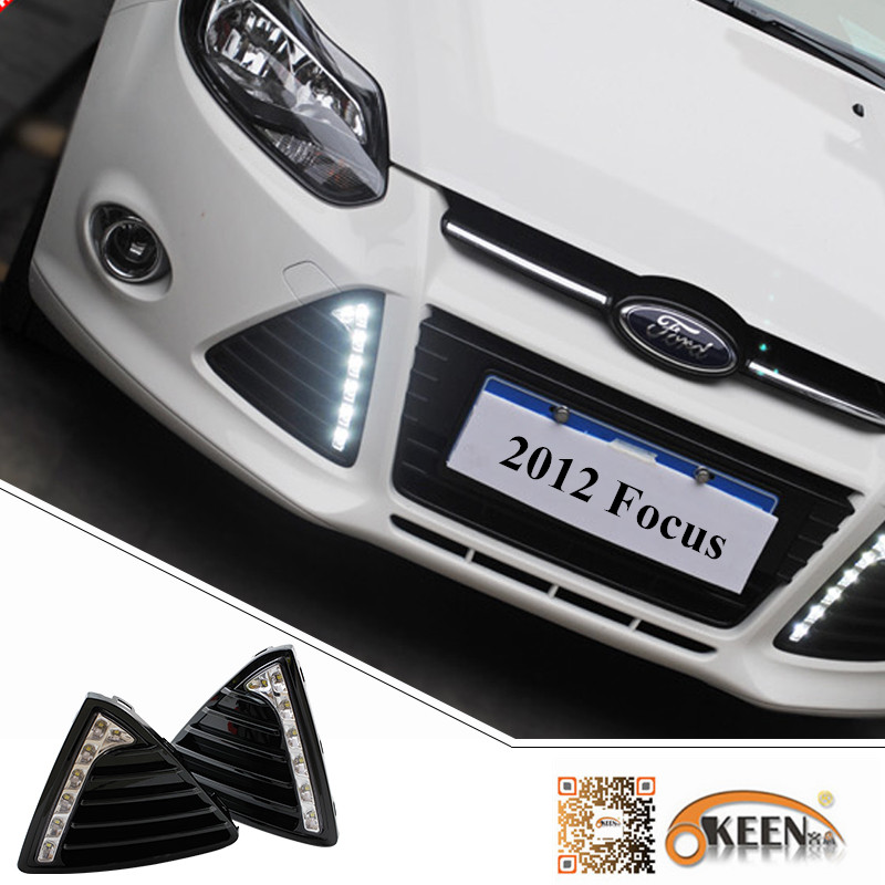 1 Set LED DRL Daytime Running Lights Kit For 2012 Ford Focus 3 Gloss Style Car White Fog Lamp With Turn off Dimmer Function Case floss surface ladder shape drl led daytime running lights for 2012 ford focus