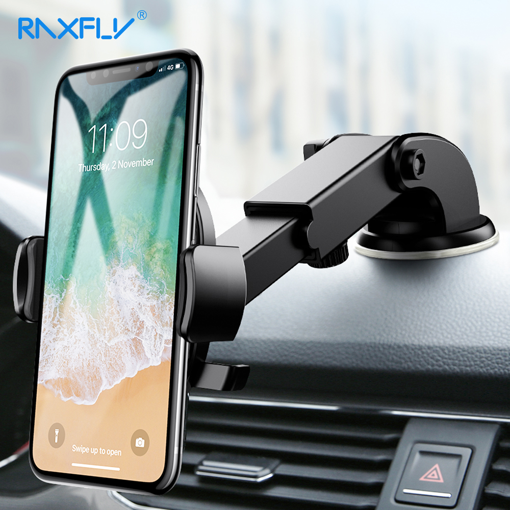 RAXFLY Car Phone Holder Universal Sucker Suction Cup Mount Holder Bracket For iPhone X 8 7 Samsung Mobile Phone windshield Stand