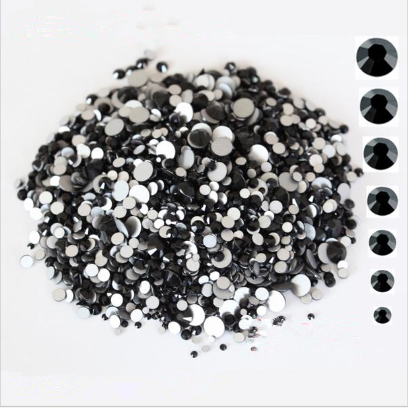 1440PCS/Pack SS3-SS12 Glass Crystal Black Non Hotfix Flatback Rhinestones Nail Rhinestones For Nails 3D Nail Art Decoration Gems mix crystals of opal rhinestones for nail rhinestones on nails opal glass gems 3d nail art strass ongle decoration mjz1027