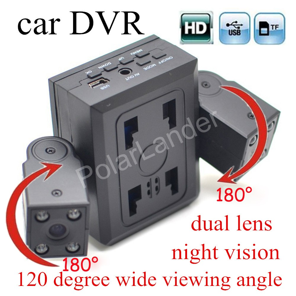 high quality H3000 Rotatable Dual Lens Car DVR Camera Recorder With 120 degree wide viewing angle 8 IR LED Night Vision