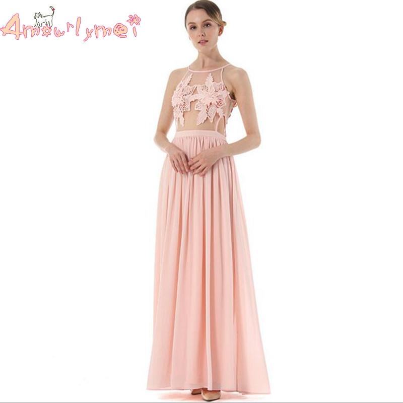 Amourlymei Evening Gown Vestidos 2017 Summer New Women Pink Elegant Lace Chiffon Long Maxi Dress Wedding Formal Gown Party Dress