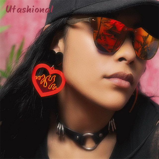 Большие серьги букле D'oreille Femme модные длинные Акриловые сердце модные Висячие серьги подвеска заявление женщины Pendientes CC