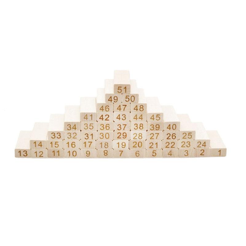 Qualité montessori En Bois 54 Pcs briques De Construction En Bois Blocs Domino Jenga Jeu de table jouets Amusant Enfants Cadeau présent - 5