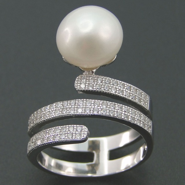 Real Pure 925 Sterling Silver Ring Natural Pearl CZ Jewelry for Women Wedding Engagement Party