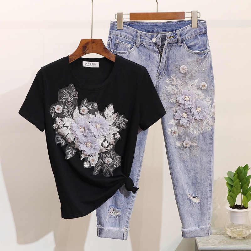 Amolapha 女性スパンコールビーズ 3D 花の綿の Tシャツ + ふくらはぎ丈ジーンズ服セット夏ミッドカーフジャンは