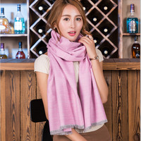 New 2017 Pure Color Wool Cashmere Scarf Shawl Dual Use Ladies Long Section Wild Collar Neck