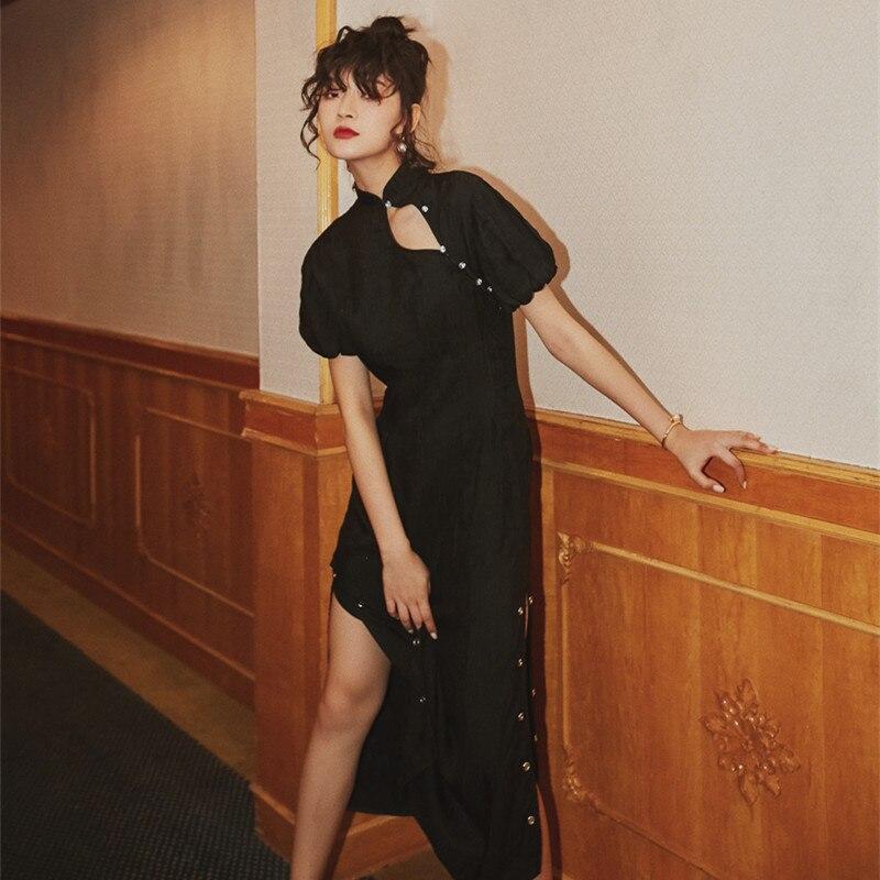 2019 nouvelle mode femmes robes Split manches longues bouffantes cheongsam robe