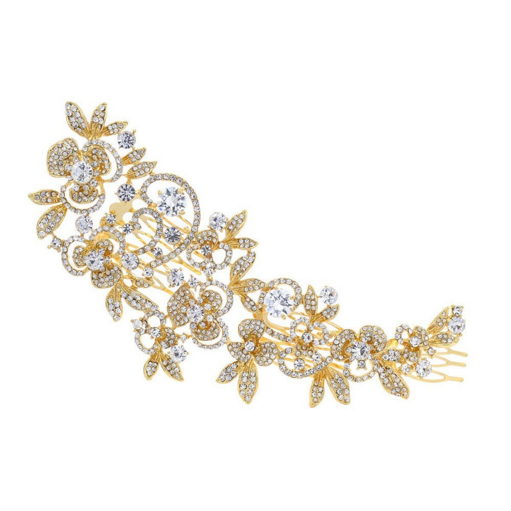 Fashion Long Flower Wedding Hair Comb Gold & Silver Clear Rhinestone Crystal Hair Accessories Women Jewelry 4