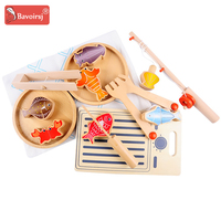 Beech Wooden Fishing Training Waldorf Magnetic Toys for 2 Years Montessori Education Toddler Toys for Kids T0247
