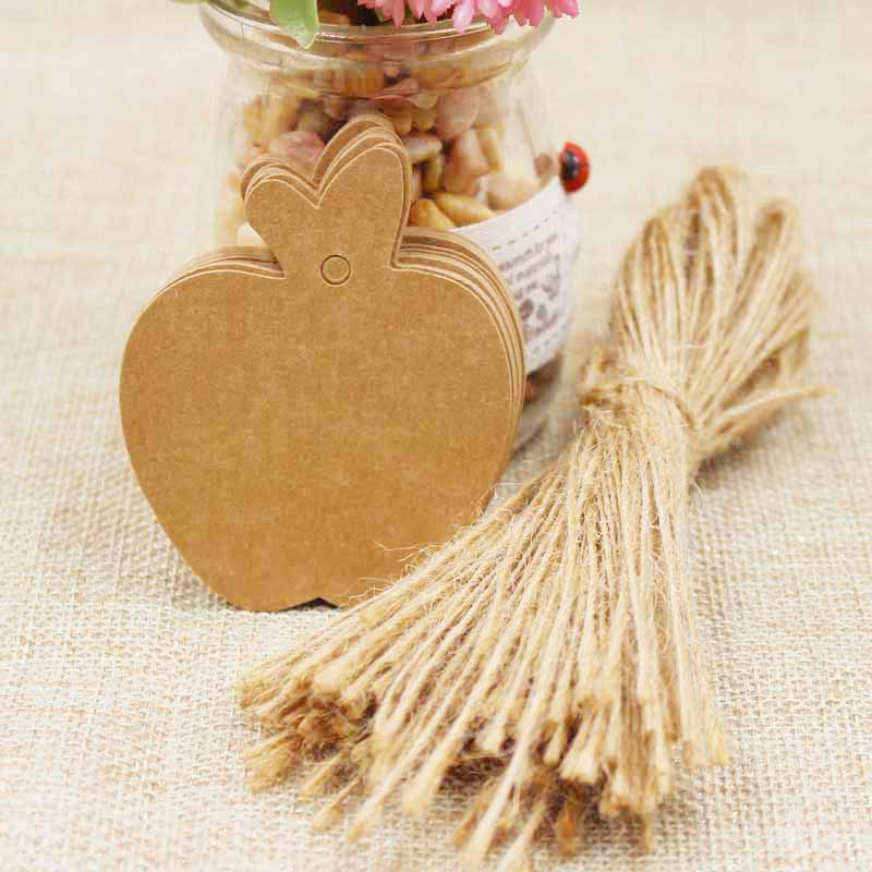 zerongE jewelry Apple Shape brown Paper gift swing tagging tag black/white garment cloth products tag labe 200pcs+200 ropes 5