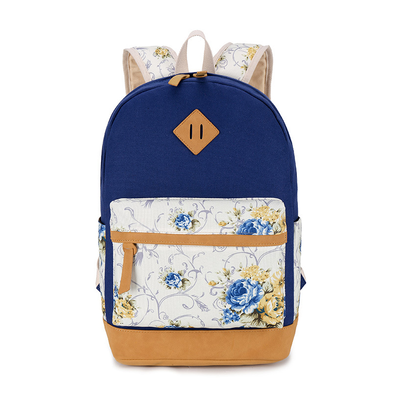 2017 Women Fashion Backpack Canvas Flower Printing School Backpack Bags for Girls Backpacks for Teenage Girls
