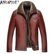 Ayunsue Для мужчин натуральной кожи куртка из натуральной коровьей кожи плюс Размеры теплые куртки для Для мужчин натуральный мех ягненка пальто 2018 5xl KJ841