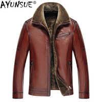 AYUNSUE männer Echte Leder Jacke Echt Kuh Leder Plus Größe Rindsleder Jacken für Männer Natürliche Lamm Pelzmantel L178101 KJ841