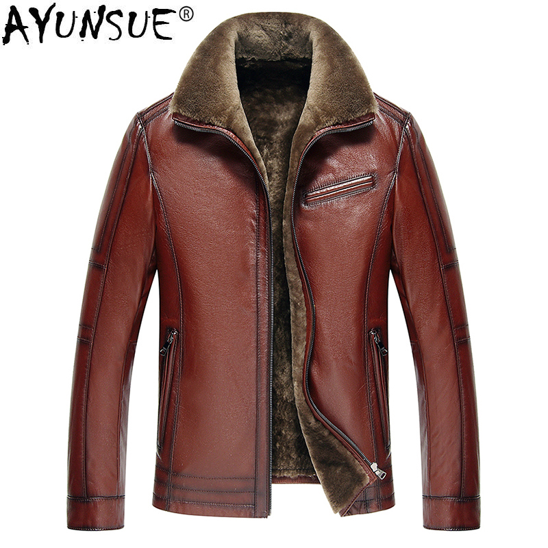 Chaqueta de cuero genuino AYUNSUE para hombre, chaqueta de cuero auténtico de vaca, chaquetas de piel de vaca de talla grande para hombre, abrigo de piel de cordero Natural L178101 KJ841