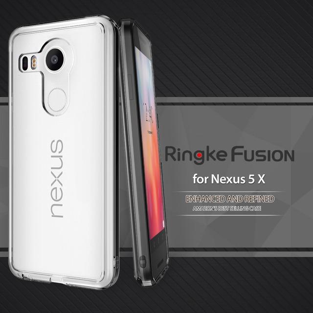 100% original caso ringke fusão nexus 5x crystal clear voltar tampa do Caso de Resistência Queda DIY Caixas Feitas Sob Encomenda para LG Nexus 5X (2015)