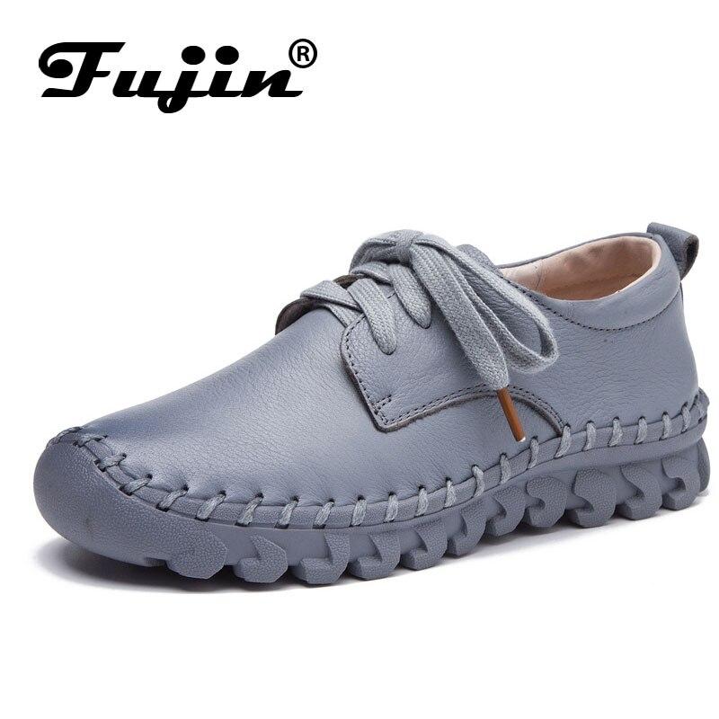 Fujin marca suave mujeres de los planos de cuero genuino de los holgazanes de la señora lace up mujeres zapatos verano otoño otoño transpirable negro blanco rojo