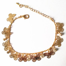 New Fashion Hollow Out Golden Flying Butterfly Crystal Bracelet Bracelets Gold Fine Bracelet Fine ankles Priced