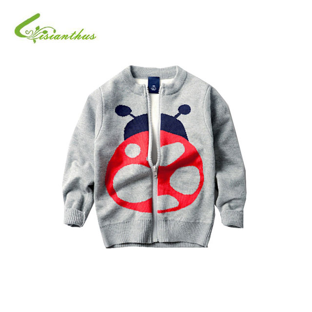 New Spring Clothes Kids Cardigan Coat Sweater for Girls Boys Beetle Pattern Long Sleeve Cotton Casual Boys Jacket Outer Wear