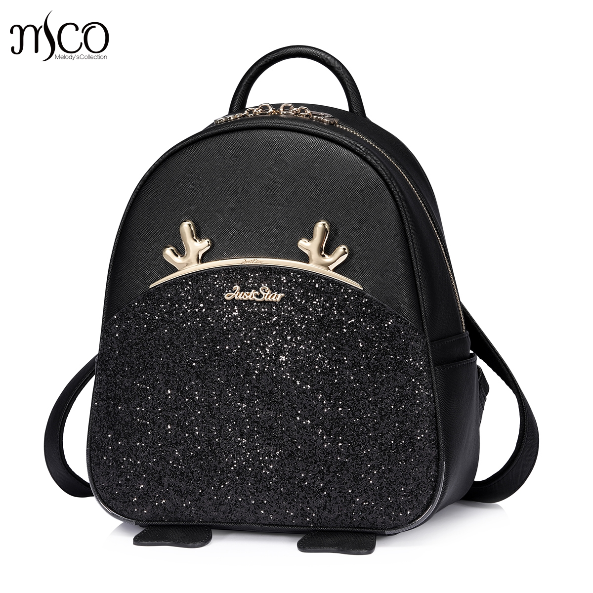 Fashion Women Backpack Big Crown Stag Embroidered Sequins Backpack Women Leather Backpacks High Quality Girls School Bags
