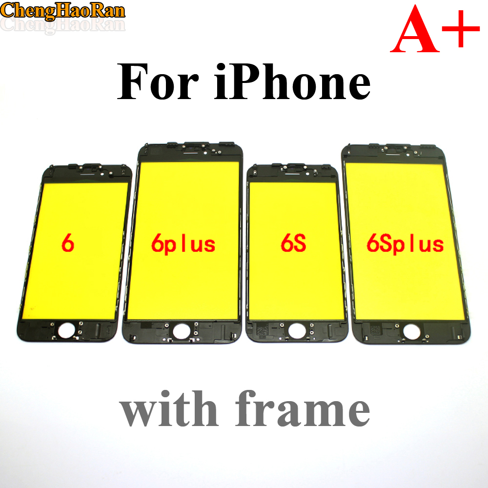 ChengHaoRan 1pcs NEW A+ Cold Press Replacement LCD Front Touch Screen Glass Outer Lens with frame for iPhone 6 6 Plus 6Plus image