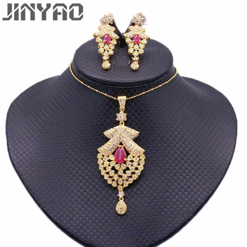 JINYAO Fashion Gold Color Jewelry Sets Green Red Zircon Pendant Necklace Earrings Sets For Women Wedding Party Jewelry bijoux