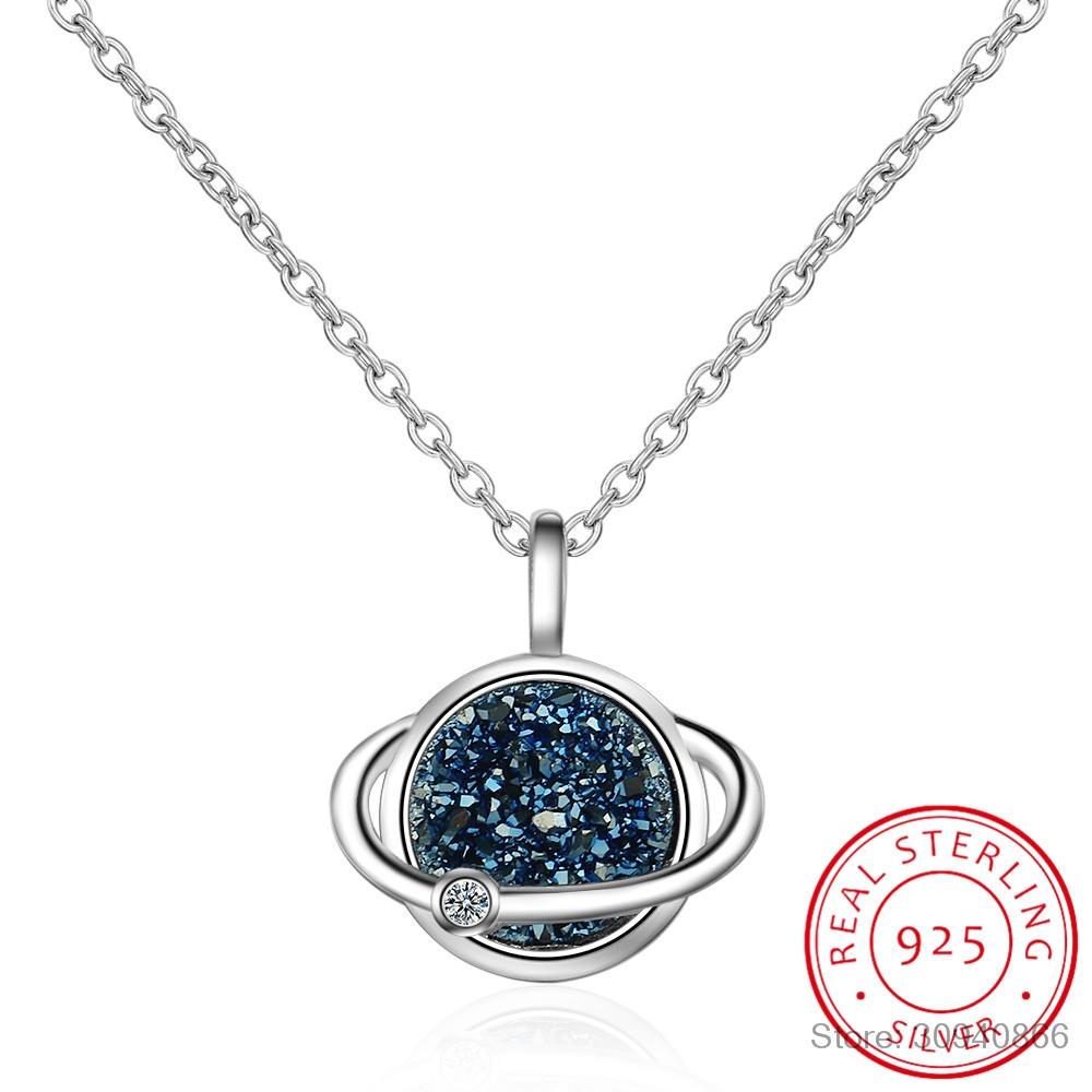 925 Sterling Silver Planet Necklace Kyanite Fragment Dream Star Necklace For Women Chain Choker S-N375