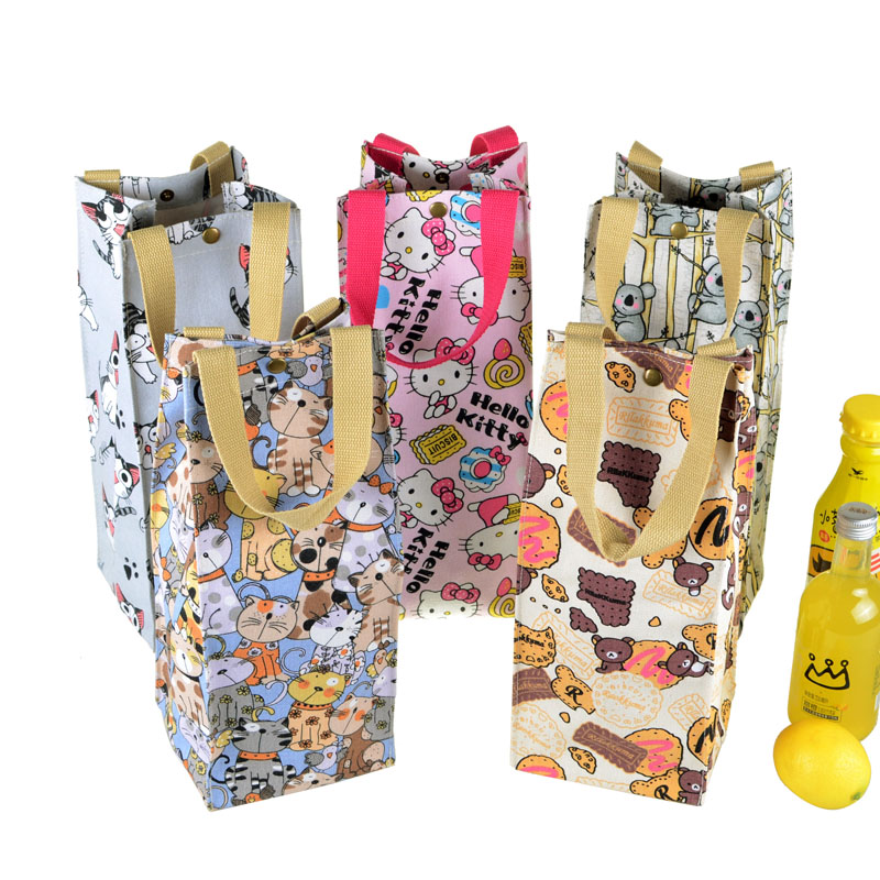 Ivyye Rilakkuma Stitch Fashion Portable Canvas Lunch Bags Cartoon Water Bottle Bag Bottles Tote Warm Storage Women Girls New Catalogues Will Be Sent Upon Request Lunch Bags