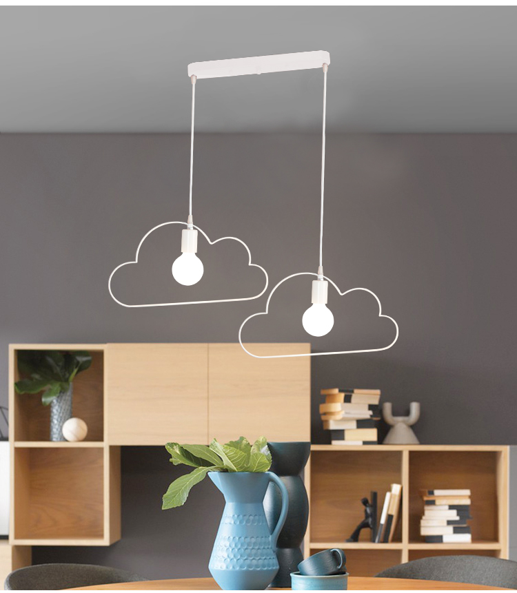 Cartoon Art Black White Metal Paint Iron Cloud Outline Droplight Minimalist LED E27 Pendant Lights for Living Room Bedroom in Pendant Lights from Lights Lighting