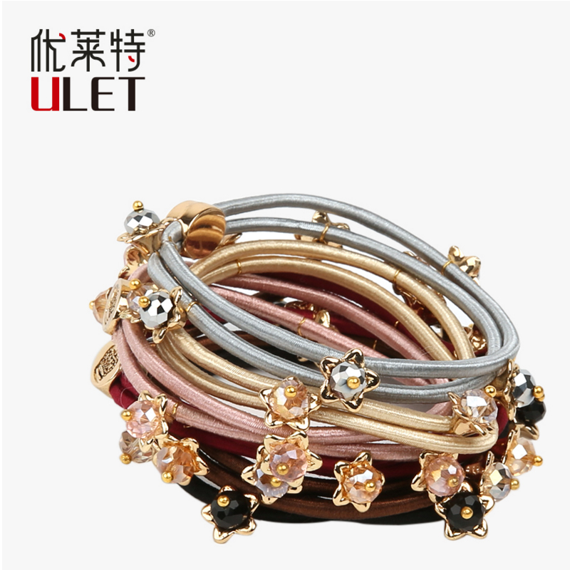 hairbands multicolor  elastic crystal flower elastic headband hair accessories hairband headwear 1 pcs lot women crystal beads hairband awaytr new black side flower hair band headband for girls 2017 korean style headwear