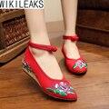 2016 Nuevas Mujeres de La Manera Zapatos de Estilo Chino Bordado de Tela Zapatos Para Caminar Mujer Old Beijing Pisos Mary Jane Con Zapatos Casuales