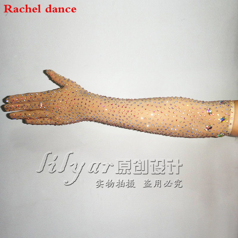 Customized Modern Dance Latin Dance Performance Dress Sasza Dance Accessories Gloves Skin Color Nude Color Elastic Net Full Dril