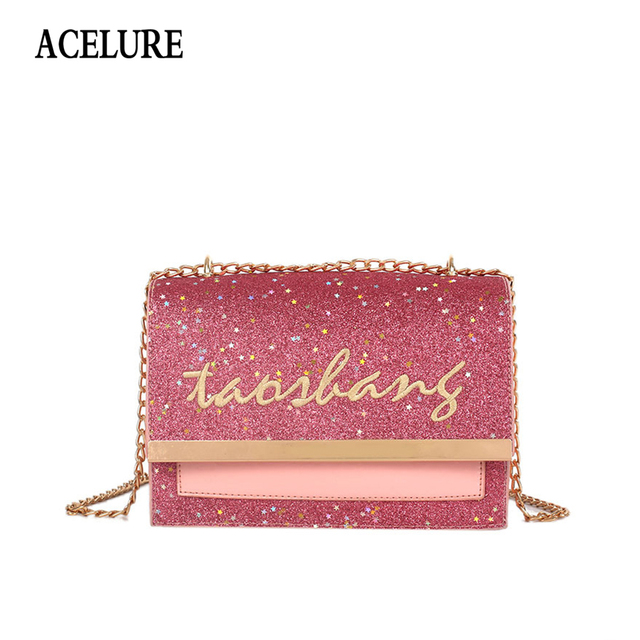 5eaa91cb3be11 ACELURE Fashion Sequined PU Oil Wax Leather Women Shoulder Bag Small Flap  Letters Female Crossbody Bag Sac a Chic Chain Handbag