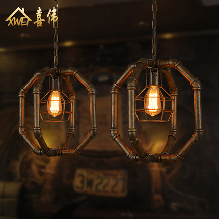 American Industrial Vintage Loft Style Creative Water Pipe Pendant Light Restaurant Coffee Shop Decoration Lamp Free Shipping 3 5 heads american industrial creative style vintage pendant light parlor light coffee shop decoration lamp free shipping