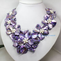 Shipping white pearl purple mother of pearl shell weave flower necklace 18 fashion jewel (C0309)