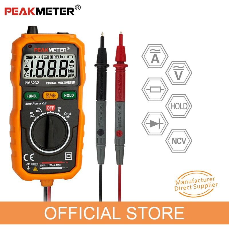 Peakmeter nova venda quente não-contato mini multímetro digital dc ac tensão atual testador pm8232 amperímetro multi testador