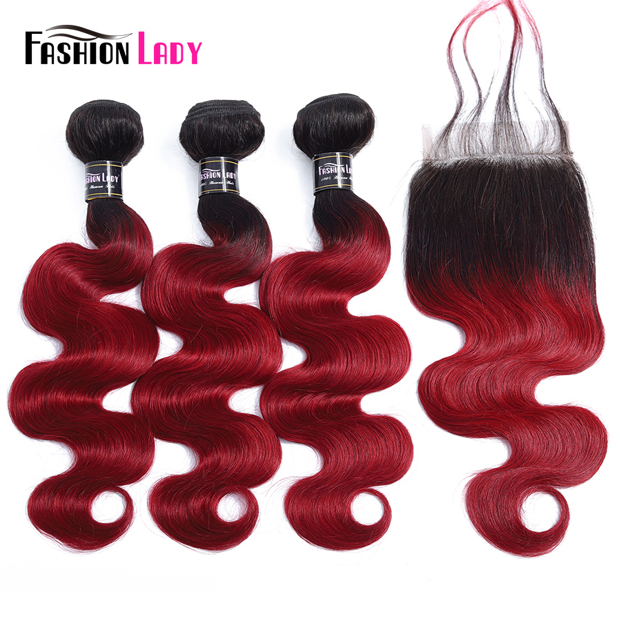 Fashion Lady Pre Colored 1B Burgundy Human Hair Weave 3 Bundles Red Ombre Brazilian Body Wave Hair With Lace Closure Non remy-in 3/4 Bundles with Closure from Hair Extensions & Wigs    1