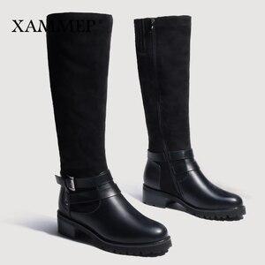 Image 4 - Женские зимние сапоги до колена, кожаные брендовые сапоги больших размеров, женская зимняя обувь из шерсти и плюша