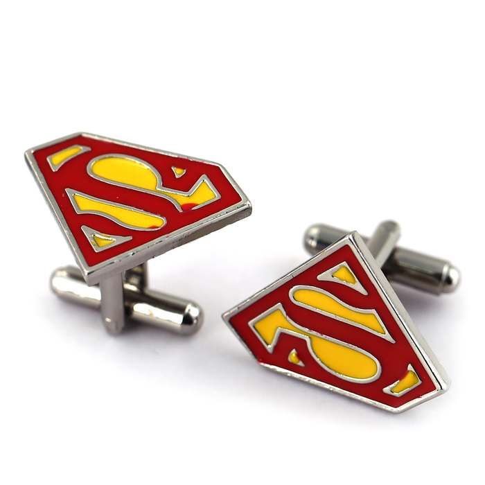 1 pair Jewelry silver superman cufflinks male French shirt cuff links for men's Jewelry Gift DFGR56