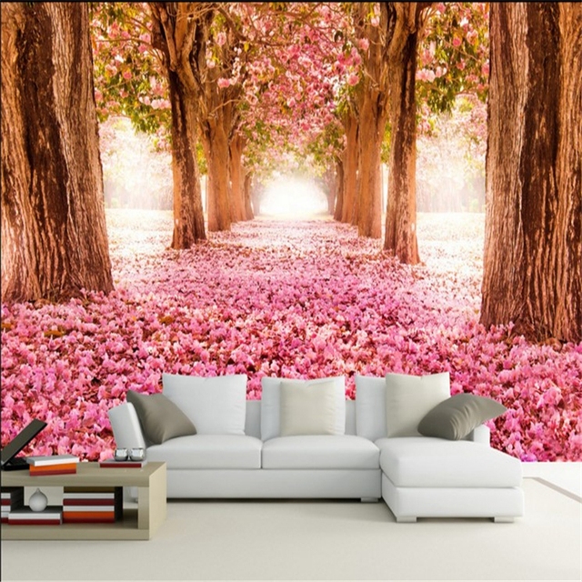 beibehang Large custom wallpapers romantic cherry blossoms 3D ...