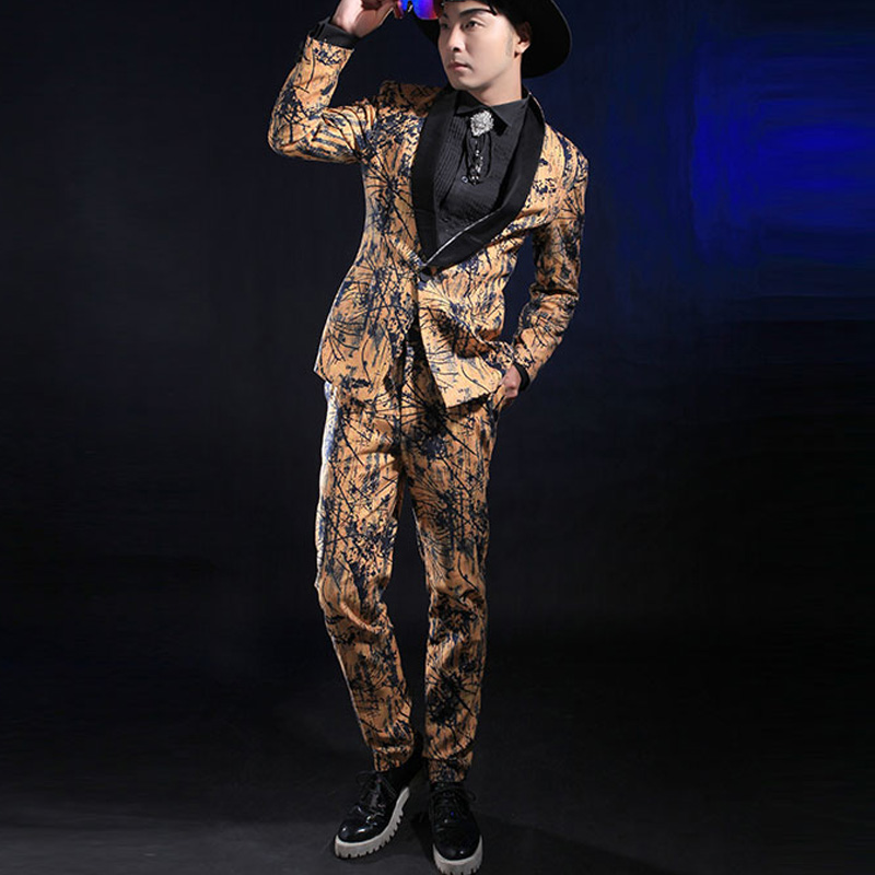 Fashion Gold Printing Slim Suit For Men Casual Male Singer Stage Performance Suit Blazer Pants Set Ds Costume Clothes Set DL3972