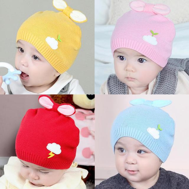 fc53ec894 Winter Warm Baby Knitted Hats Cap Lovely Rabbit Ears Cloud Leaf Kids Hats  Infant Toddler Soft Bunny Ears Skullies Beanies Caps-in Hats & Caps from ...