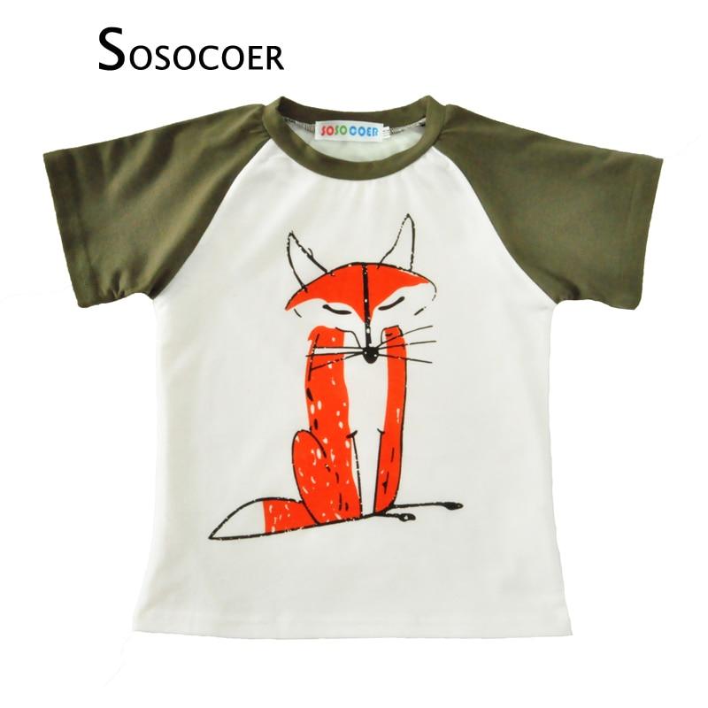 SOSOCOER Boy T Shirt 2017 Cizgi filmi Tülkü Qız T-shirt Yay Stil Moda Şirin Heyvan Qısa Qoll Qollu Uşaq Qolları Uşaq Geyimləri