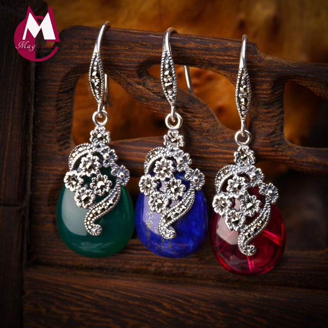 Luxury Natural Green Agate Vintage Earrings 925 Sterling Silver Drop Earrings For Women Exquisite Ethnic Flower Water Drop SE03-in Earrings from Jewelry & Accessories on Aliexpress.com | Alibaba Group
