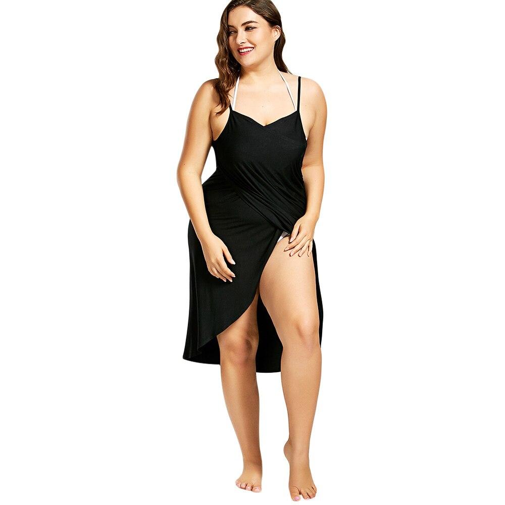 Gamiss Women Beach Wrap Dress Sexy V-Neck Loose Backless Beach Dress Plus  Size Spaghetti de4a291c52d1
