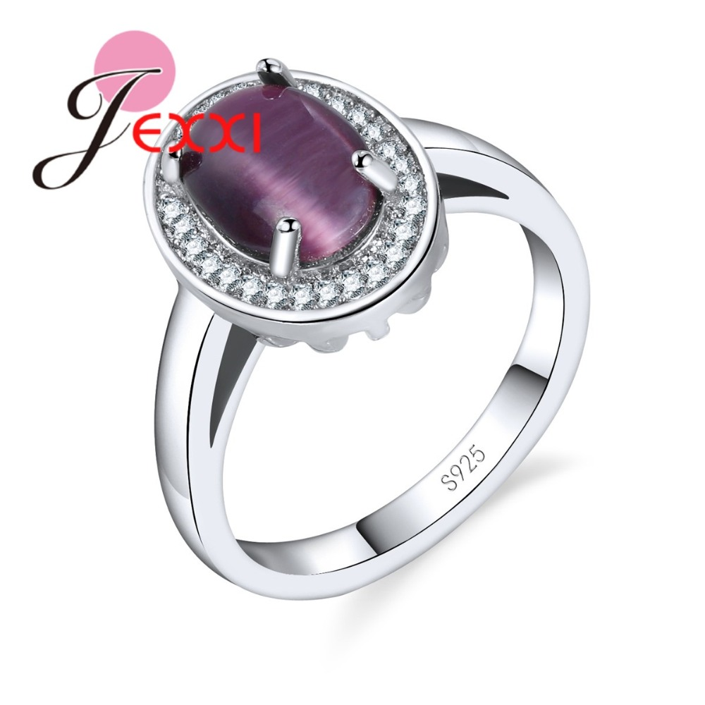 JEXXI Oval Clear Purple AAA+ Zircon Ring Women Ladies Wedding Bridal Jewelry High Quality 925 Sterling Silver Finger Rings