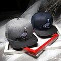 2016 Novo De Couro De Lã Brim Snapback Chapéus Gorras planas do Pássaro Bordado Cap Hip Hop Baseball Caps Para Homens Mulheres Osso Cinza Marinho