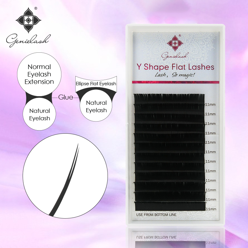 Genie Y Shape Flat Eyelash extensions Ellipse roots and Split tips Much softer and lighter fit for volume Eyelash Extensions great spaces home extensions лучшие пристройки к дому